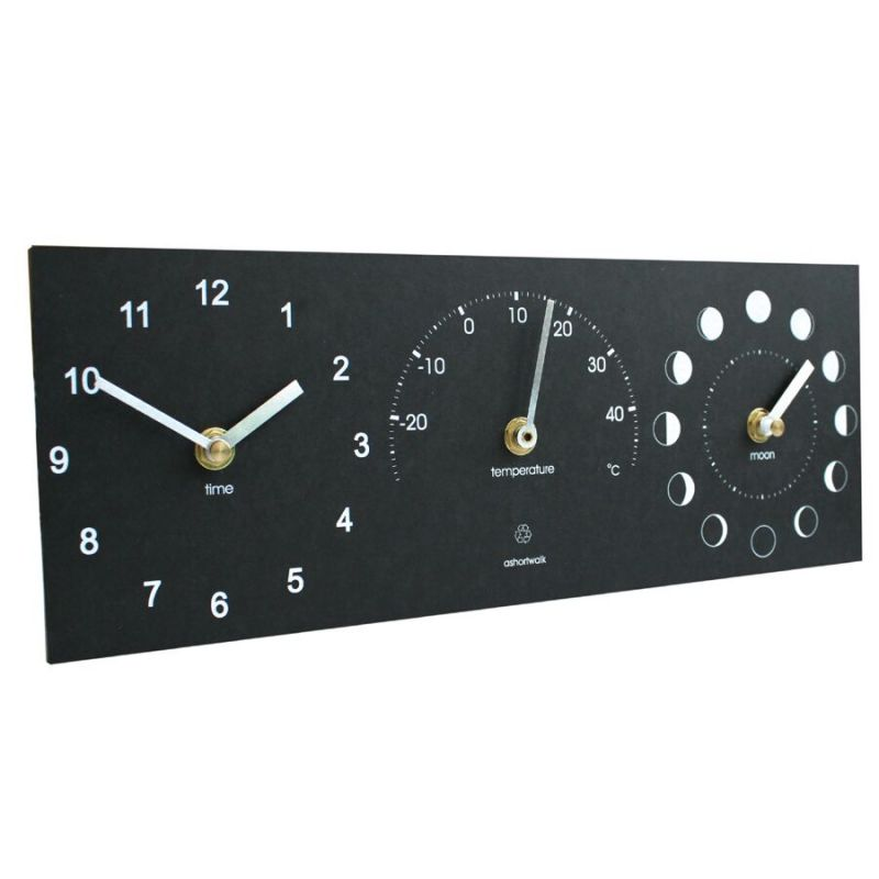 Eco Recycled Moon, Clock and Thermometer
