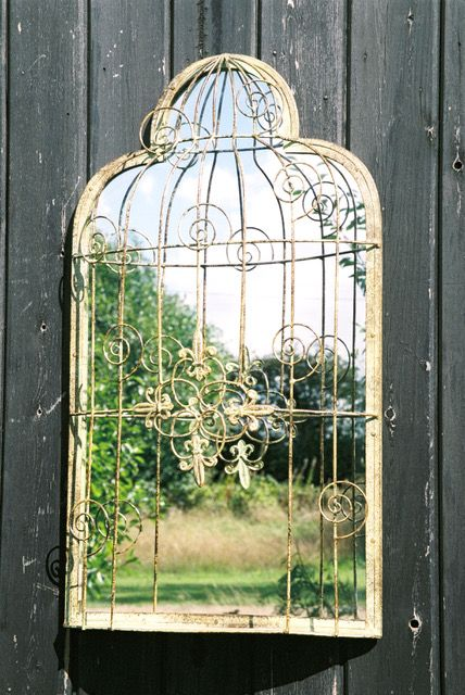 Birdcage Mirror (Green, Antique-style)