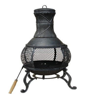 89cm Large Open Bowl Mesh Cast Iron Chimenea Patio Heater Black / Bronze