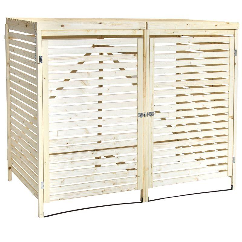 Wooden Double Wheelie Bin Storage Unit