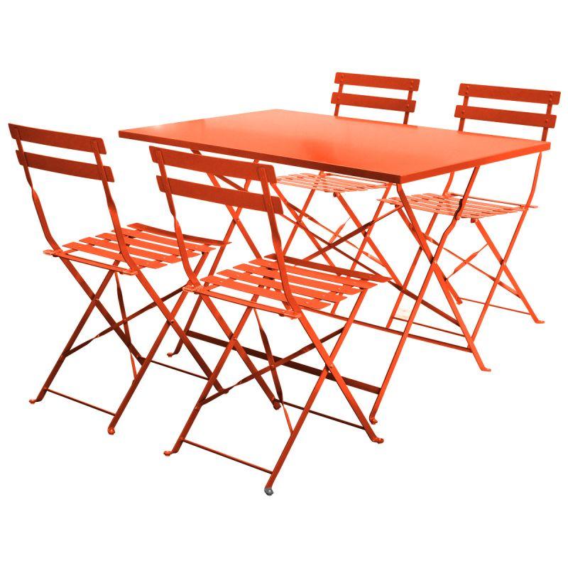 4 Seater Orange Rectangular Metal Dining Set 4 Chairs