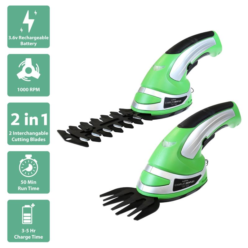 3.6V Cordless 2-in-1 Grass Cutter and Hedge Trimmer
