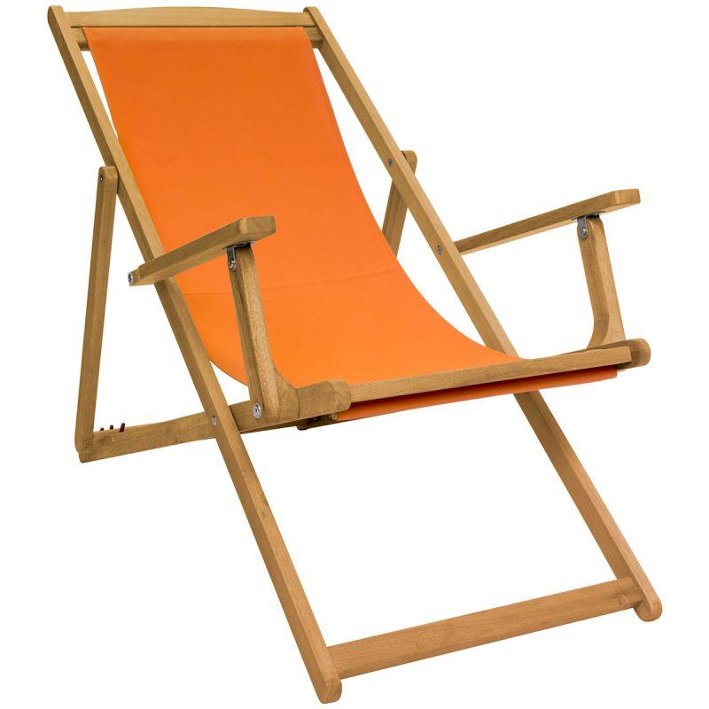 Foldable FSC Eucalyptus Wooden Deck Chair