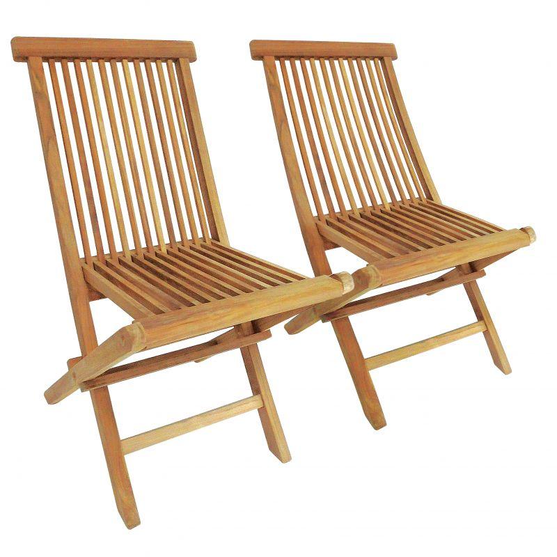 Pair Of Teak Folding Garden Chairs