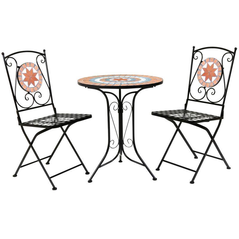 Terracotta Mosaic 2 Seater Bistro Set Patio Garden Outdoor Furniture - Orange & Black