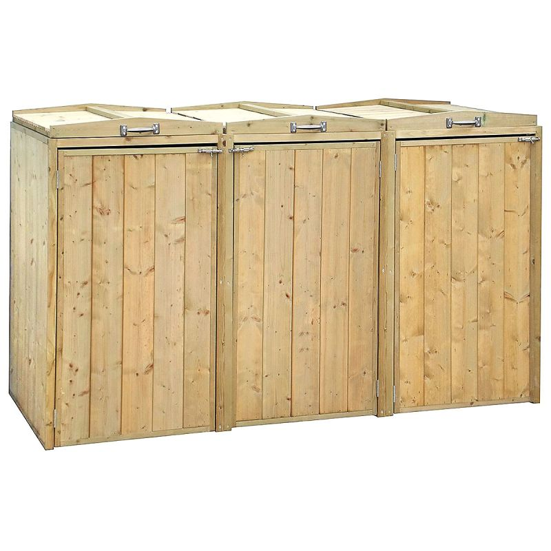 Premium Wooden Triple Bin Store With Recycling Unit