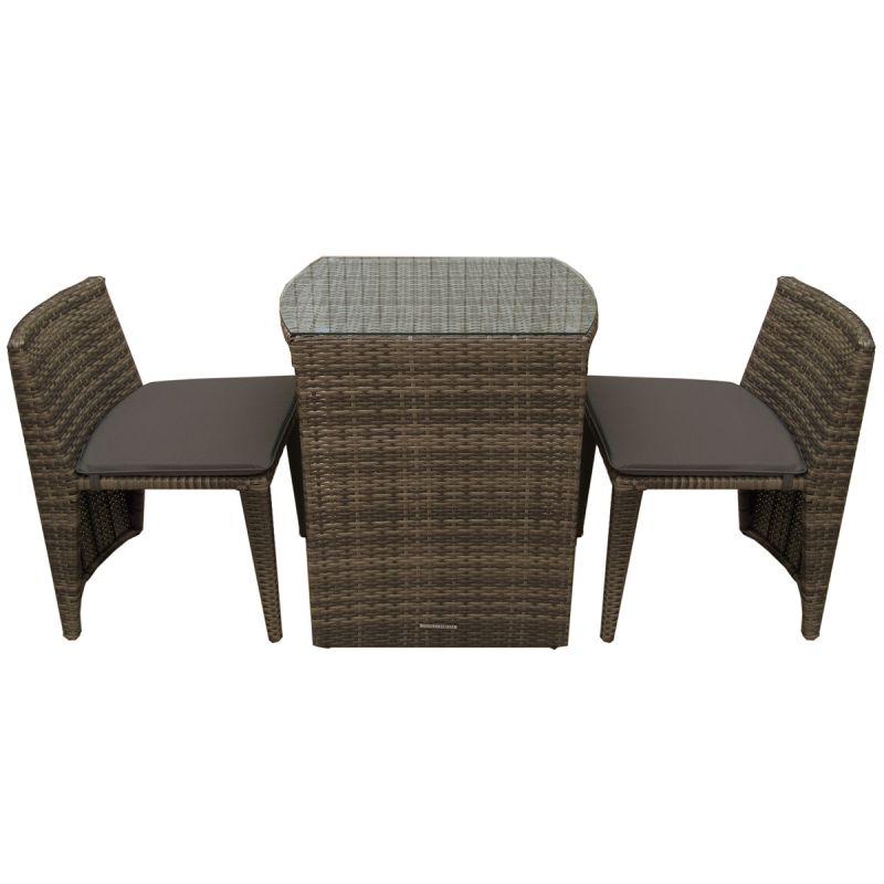 2 Seater Rattan Dining Set Outdoor Garden Patio Balcony Furniture - Brown