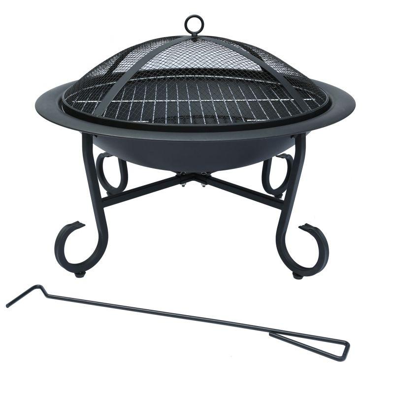 Outdoor Garden Patio Fire Pit Heater Open Bowl Black