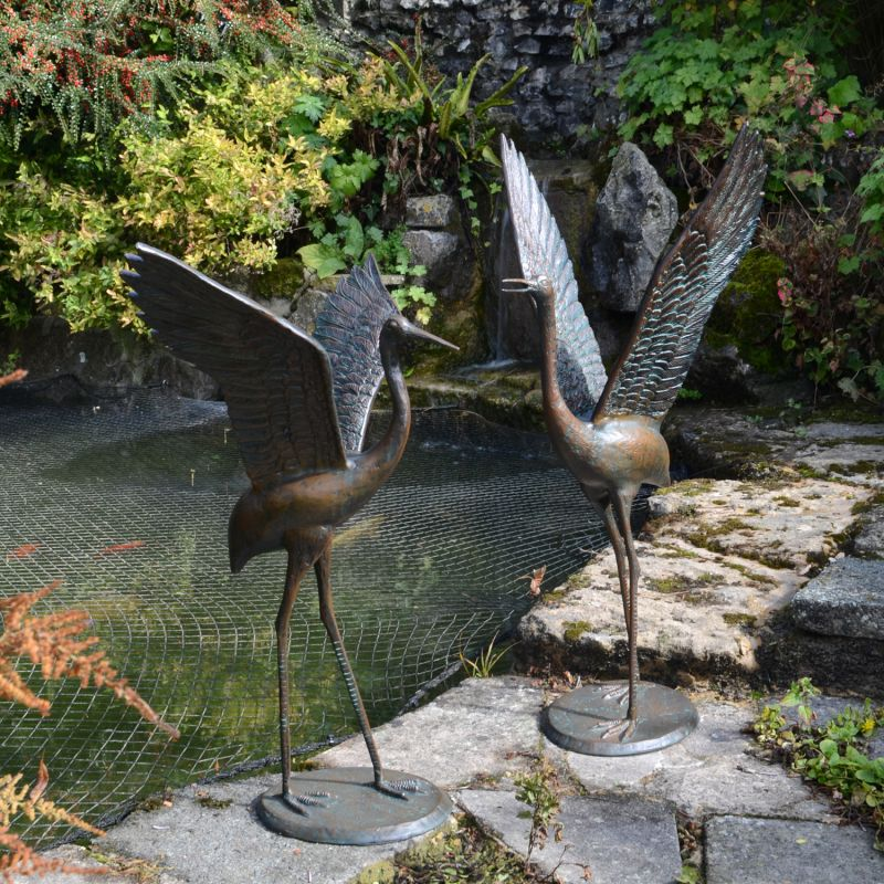 Cranes Pair outstretched wings - dark Verdigris