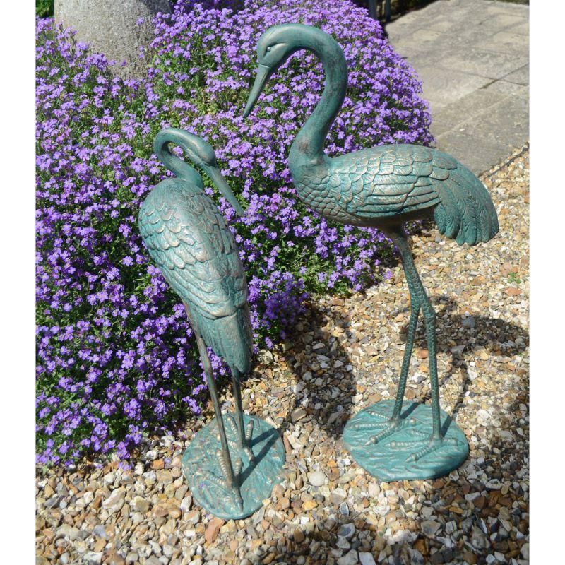 Cranes Pair - gold Verdigris