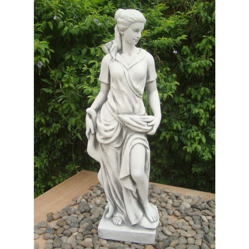 Heidi Hunter Girl Statue - White Stone Effect