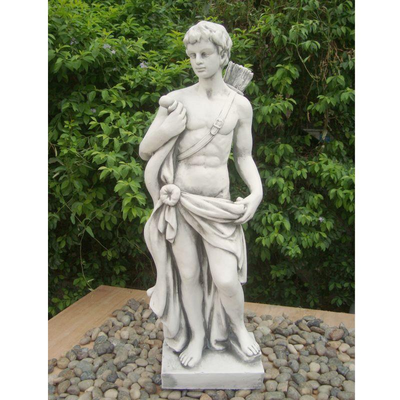 Hector Hunter Boy Statue - White Stone Effect