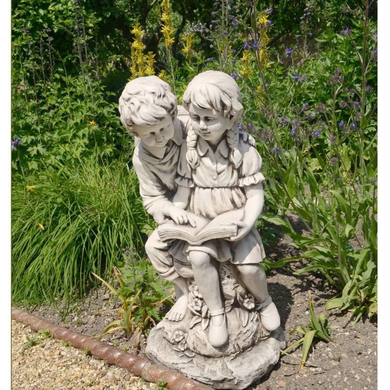 Jack & Jill Reading Statue - Antique Stone Effect