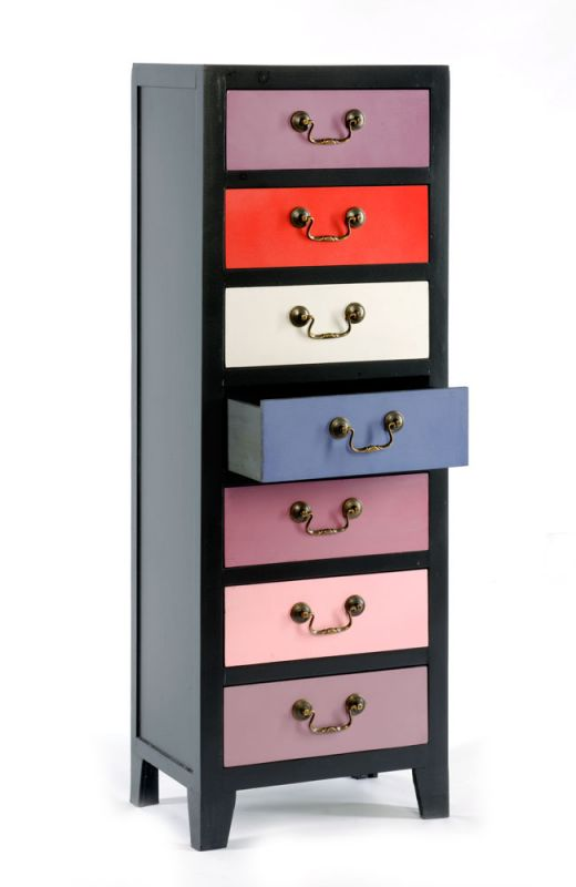 Pink/Purple Tall Cabinet with 7 Drawers