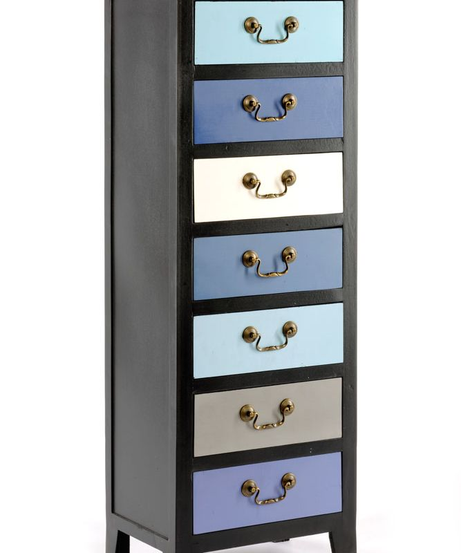 Blue Tall Cabinet with 7 Drawers