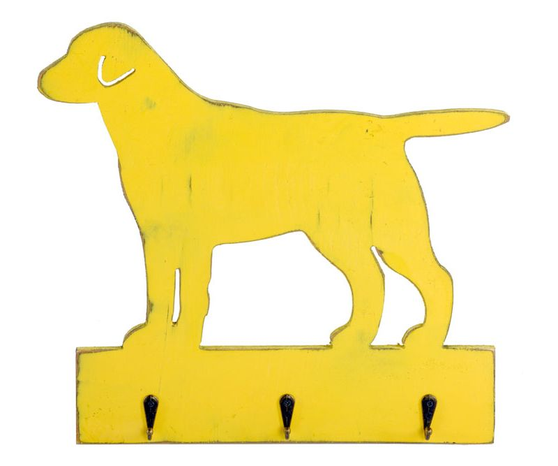 Vintage Dog Shape Yellow Hanger with 3 Hooks 36 x 34 cm