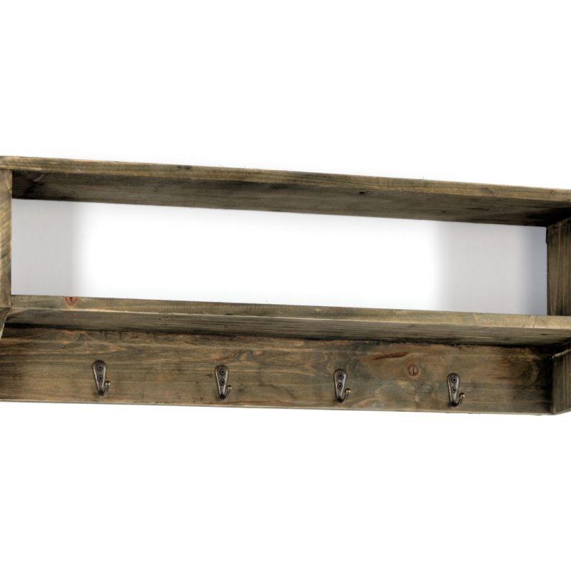 Wooden Wall Shelf with 4 Hooks 54 x 10 x 18cm