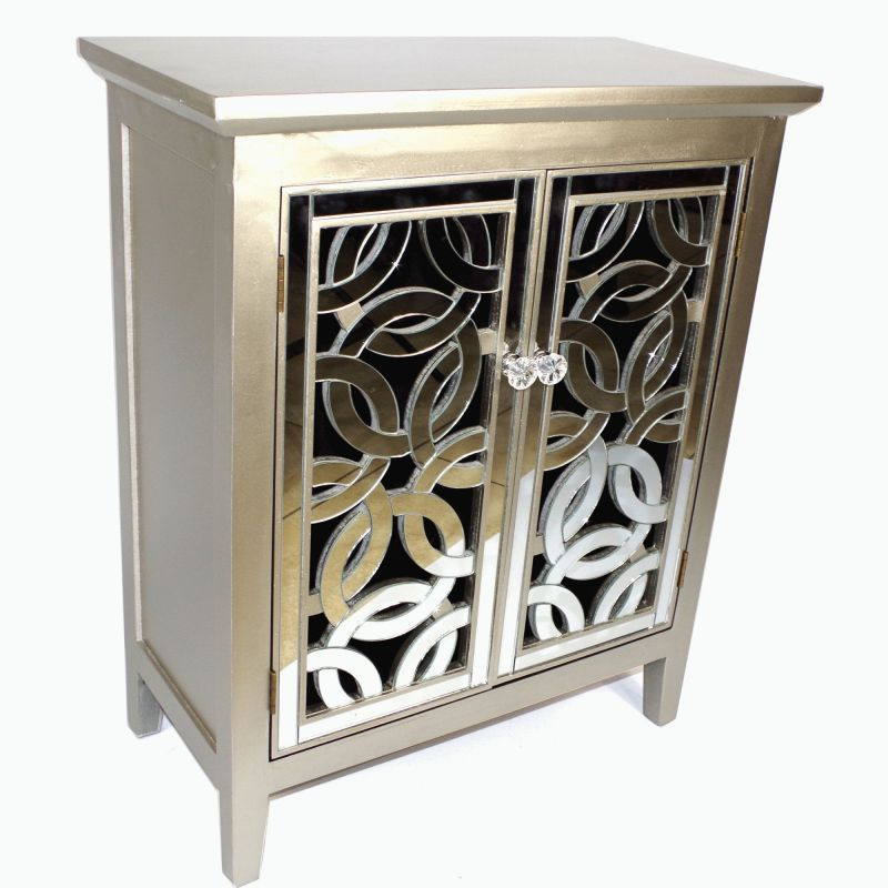 Mirror Fronted Silver Solid Wood Cabinet