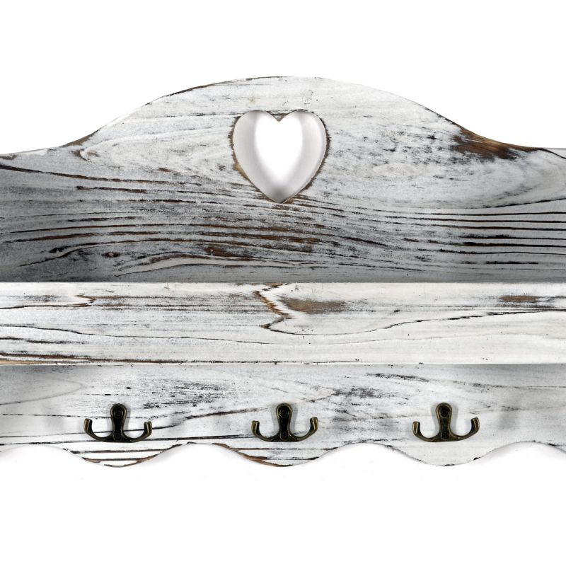 White Heart Coat Rack With Shelf