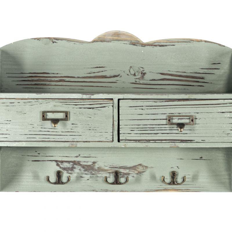 Green 2 Drawer Coat Rack With Shelf