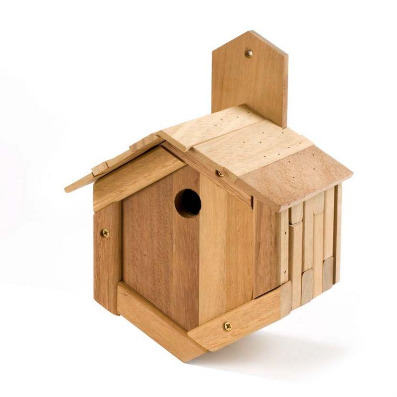 Handmade Wooden Bird Box - Hexagonal