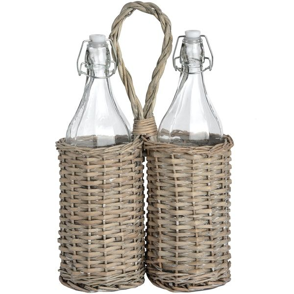 Washed Grey Refreshment Basket in Willow