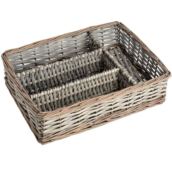 Washed Grey Cutlery Storage in Willow