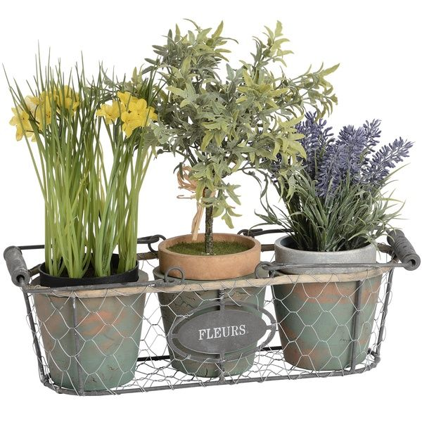 Fleurs Triple Wired Plant Pot with Rope Detailing