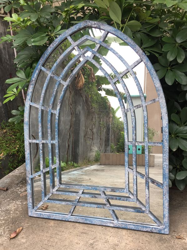 Antique Blue Church Mirror
