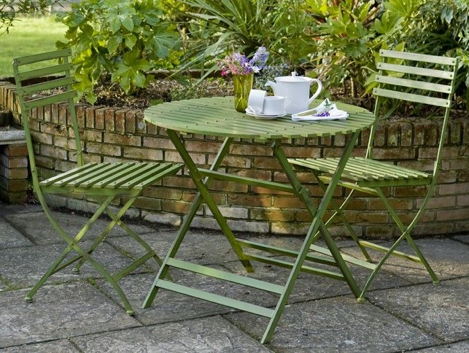 """Wimbledon"" Round Table and 2 Chairs (Green)"