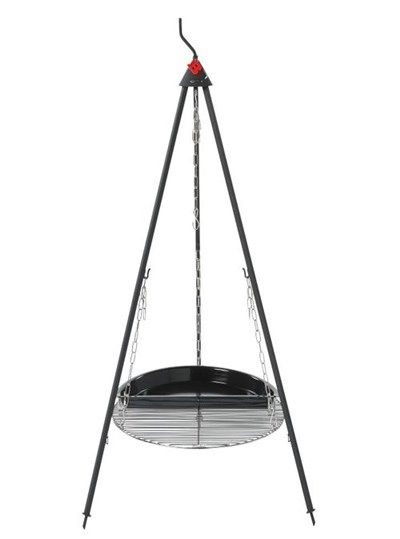 Tripod (separable) Grill grid, chains, Half BBQ Pan - Set 3