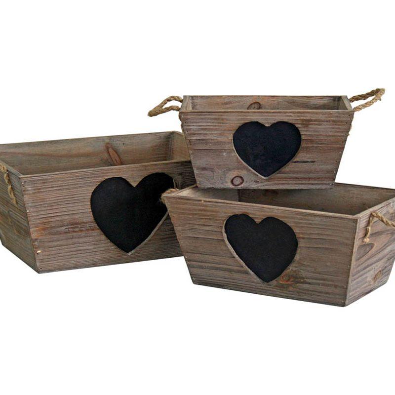Set of 3 Rustic Heart Blackboard Trugs