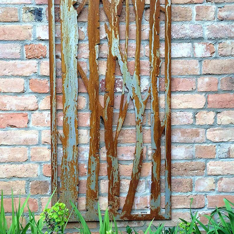 Decorative Metal Screen (Rusty Steel Silver Birch)