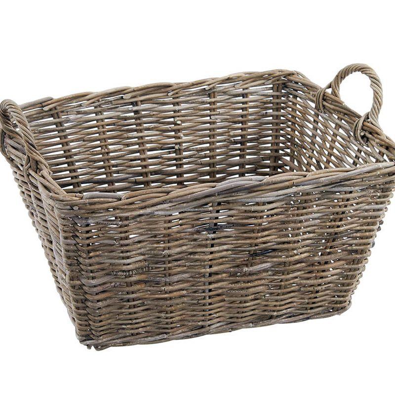 Grey Rattan Rectangular Basket Ear Handles