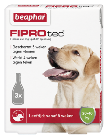 Beaphar FIPROtec Spot On for Large Dogs - 3 Vials - Dutch/French