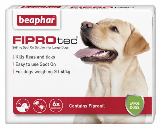 Beaphar FIPROtec Spot On for Large Dogs - 6 Vials - English