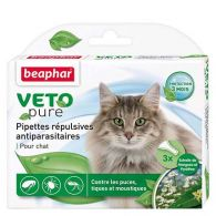 Pipettes répulsives antiparasitaires chat