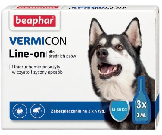 VERMIcon Line-on Dog M - krople przeciwko ektopasożytom dla średnich psów 15-30kg
