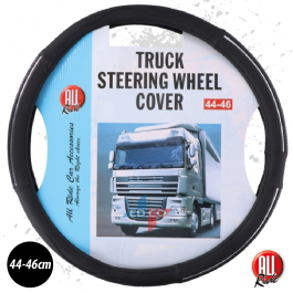 Truck Steering Wheel Cover. Black & Chrome. 44/46.