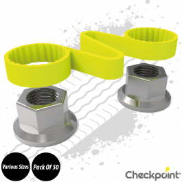 Checkpoint Checklink Yellow Wheel Nut Indicator - Various Sizes - Pack of 50