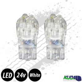 Ice White T10 5w LED Bulbs (Pair) 24v for Trucks