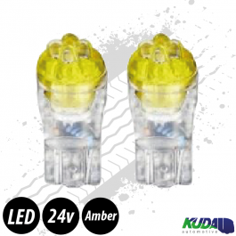 Amber T10 5w LED Bulbs (Pair) 24v for Trucks