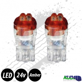 Red T10 5w LED Bulbs (Pair) 24v for Trucks