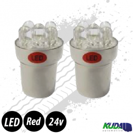 Red BA15s 5w LED Bulbs (Pair) 24v for Trucks