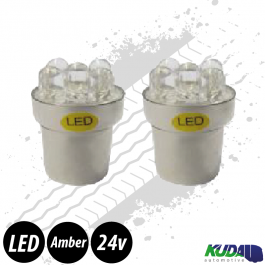 Amber BA15s 5w LED Bulbs (Pair) 24v for Trucks
