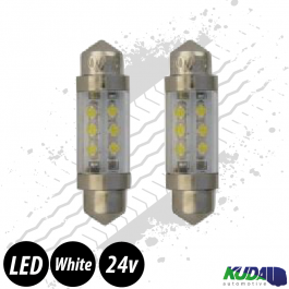 Ice White Festoon SV8.5 10x36mm LED Bulbs (Pair) 24v for Trucks