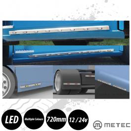 Universal LED Bar, 720mm, 3 LED, 12/24v, Stainless Steel.