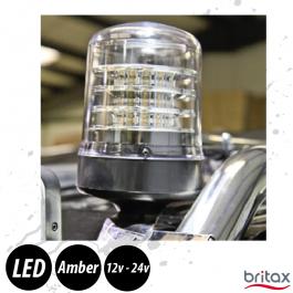 Britax Clear LED Beacon (Amber), Single Bolt, 12v/24v