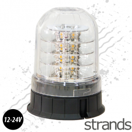 Clear Lens Amber LED Beacon, Rotating / Flashing Light, 12v-24v, ECE R65 Approved.