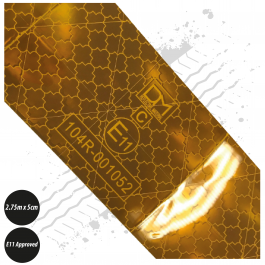 Reflective Tape - Amber - E11 Approved, 2.75m x 5cm